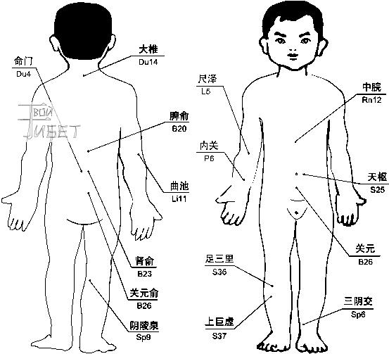 Схема лечения магнито-вакуумными массажными банками расстройства пищеварения (диспепсии) .